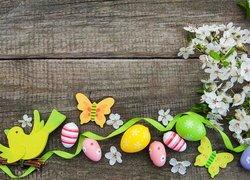 Wielkanoc, Pisanki, Wstążka, Ptaszek, Motyl, Białe, Kwiatki, Deski