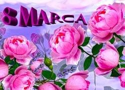 Święto, Dzień Kobiet, Kwiaty, Róże, Napis