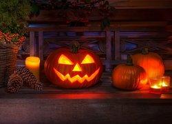 Kompozycja, Dynie, Świece, Szyszki, Koszyk, Iglak, Halloween