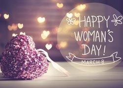 Dzień Kobiet, Serce, Cekiny, Napisy, Serduszka, Światełka