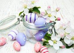 Wielkanoc, Pisanki, Słoik, Kwiatki
