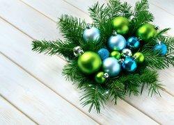 Boże Narodzenie, Stroik, Bombki, Gałązki, Świerk, Deski