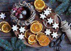 Kompozycja, Pierniczki, Plastry, Pomarańcze, Nożyce, Gałżki, Boże Narodzenie