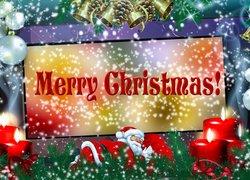 Grafika, Boże Narodzenie, Mikołaj, Świece, Bombki, Życzenia, Merry Christmas