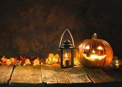 Halloween, Świecąca, Dynia, Lampion, Świeczki, Liście, Deski
