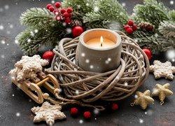 Stroik, Boże Narodzenie, Wiklinowy, Wianek, Świeczka, Sanki, Pierniczki, Gałązki, Jodły, Czerwone, Jagody