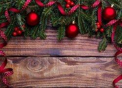 Świerk, Gałązki, Czerwone, Bombki, Jagody, Wstążki, Deski, Boże Narodzenie