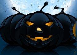 Halloween, Trzy, Czarne, Dynie