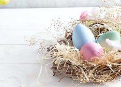 Wielkanoc, Pisanki, Gniazdo, Kwiaty