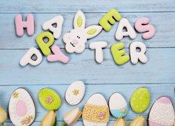 Ciasteczka, Pisanki, Zajączek, Tulipany, Napis, Happy Easter, Wielkanoc