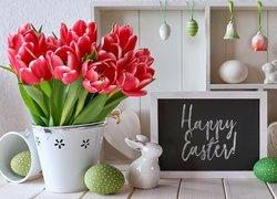Tulipany, Wazon, Pisanki, Zajączki, Tablica, Napis, Happy Easter, Zawieszki, Kompozycja, Wielkanoc