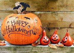 Halloween, Dynia, Nietoperze, Gruszki, Liście, Deski