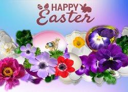 Kwiaty, Wielkanoc, Napis, Grafika