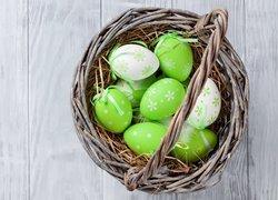 Wielkanoc, Koszyk, Pisanki, Białe, Zielone, Deski