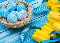 Żółte, Tulipany, Wstążka, Pisanki, Gniazdo, Niebieskie, Deski, Wielkanoc