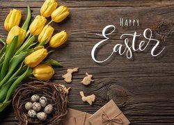 Wielkanoc, Kompozycja, Deski, Tulipany, Życzenia, Jajka, Koszyk, Prezent, Życzenia, Zajączek