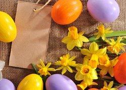 Wielkanoc, Pisanki, Żonkile, Karteczka