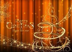 Boże Narodzenie, Choinka, Złoty, Napis, Życzenia, Grafika